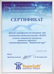 Сертификат о прохождении тренинга командообразования «Веревочный курс»